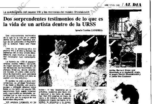 Reportaje sobre la dura vida de los artistas en la URSS, publicado en diciembre de 1981